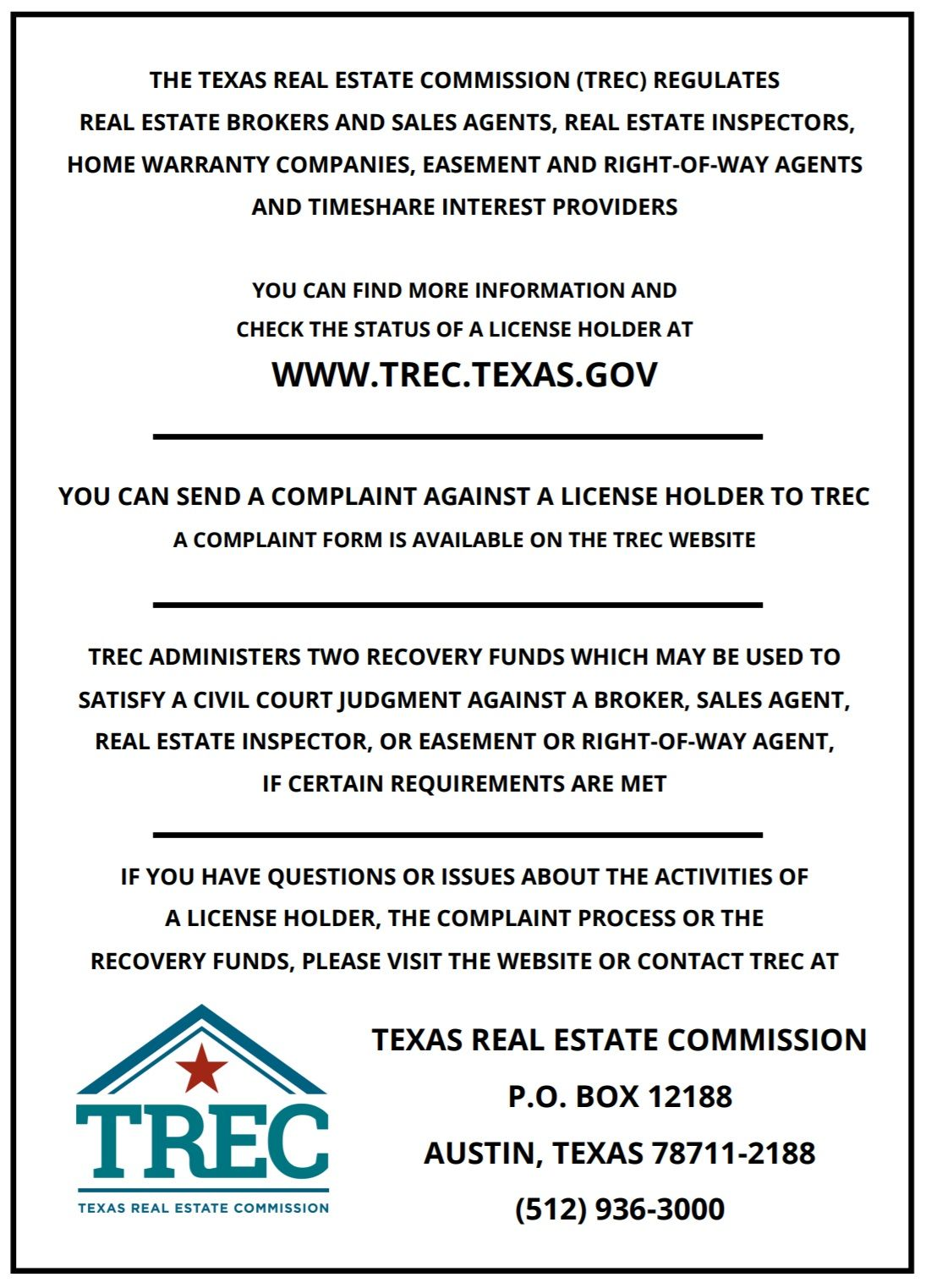 Trec Legal Texas Real Estate Consumer Protection Real Estate Information
