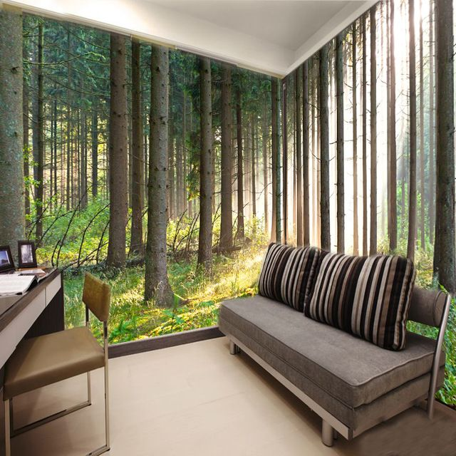 Free Shipping 3d Wallpaper Nature Trees Forest Living Room Wallpaper Tree Wallpaper Living Room Wallpaper Living Room Wallpaper Designs For Walls