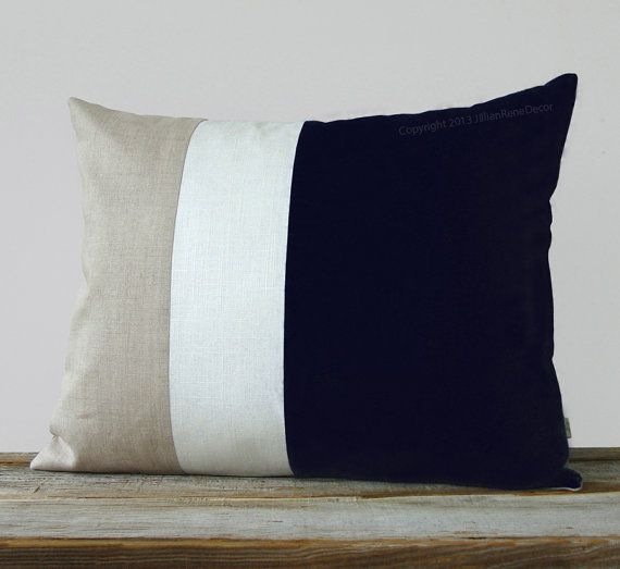 16x20 Color Block Pillow In Black Cream And Natural Linen