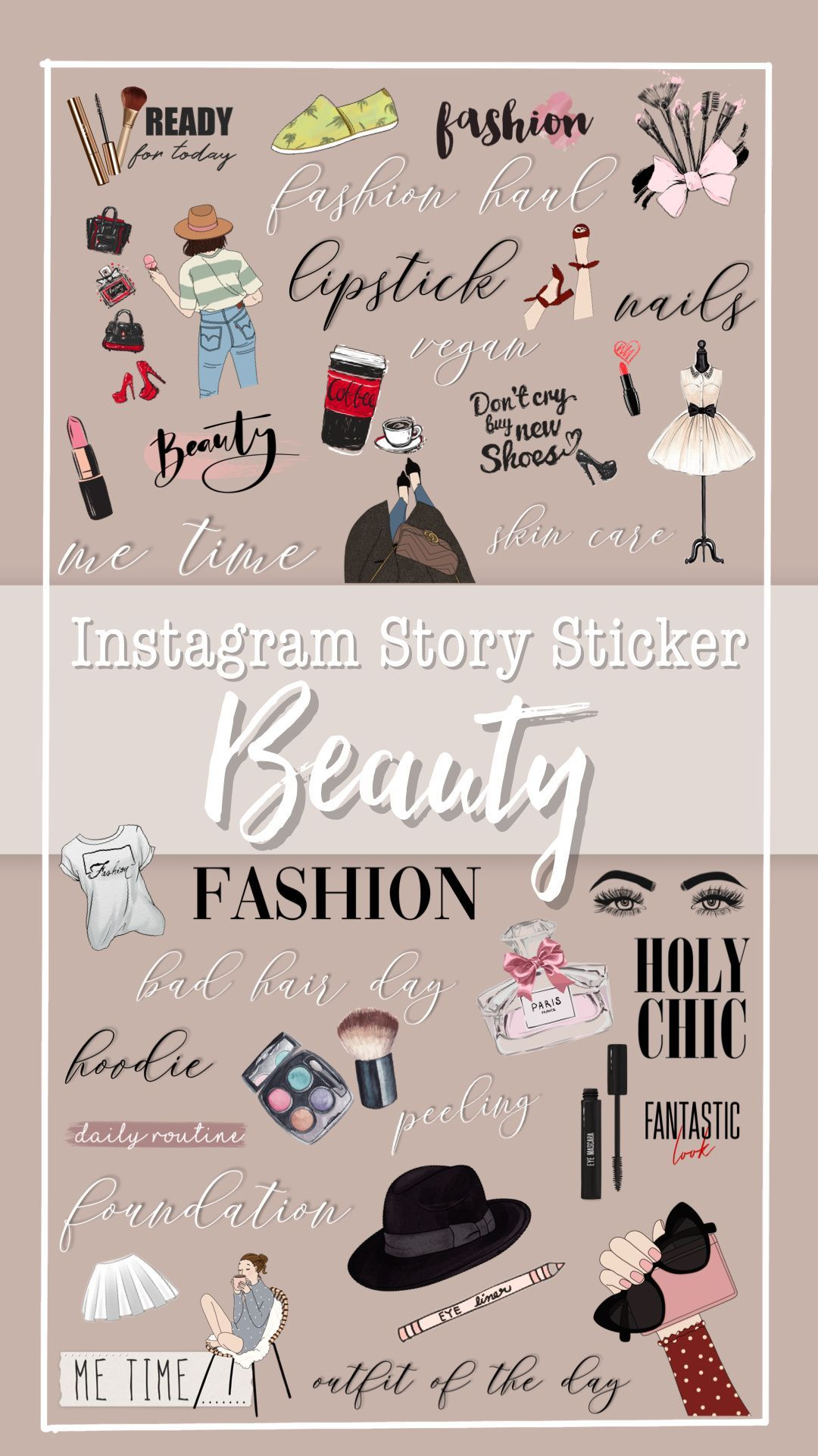 120 Instagram Story Stickers Beauty Bundle Beauty Makeup Lifestyle Stickers Everyday Design Elements Instant Download Instagram Story Stickers Instagram Story Sticker Instagram Story