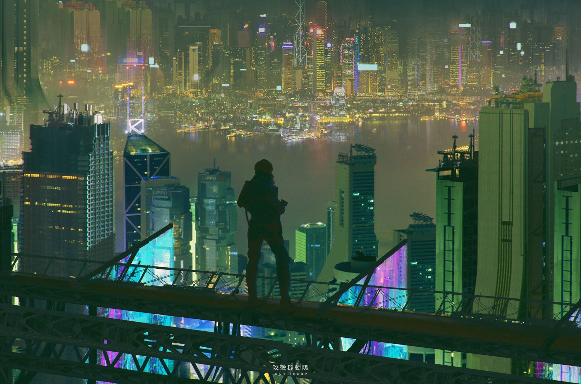 Ghost In The Shell Unused Promotional Material Screen Rant Ghost In The Shell Cyberpunk City Anime City