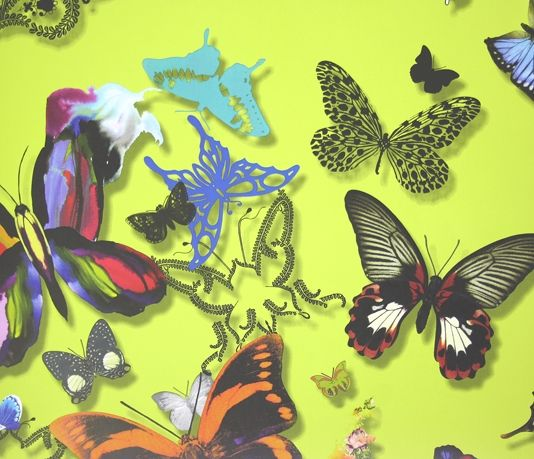 Butterfly Parade Wallpaper A stunning vibrant wallpaper designed by Christian Lacroix.  A delightful collection of butterflies in a range of different styles printed with a shadow creating depth in multicolours on bright yellow.