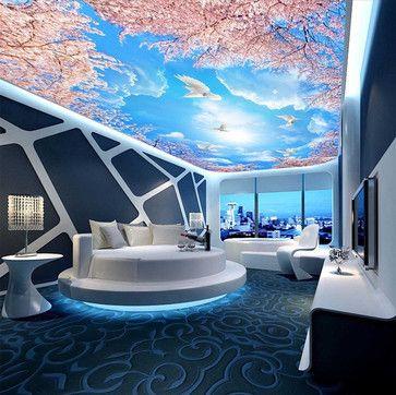 Dcoration de la maison personnalis papier peint bleu ciel et blanc nuages cerise arbre papier peint au plafond plafond