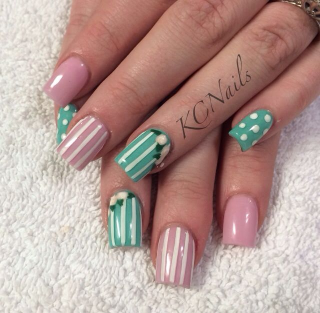 Mint Green and Pale Pink acrylic nails. Solid nails with hand ...