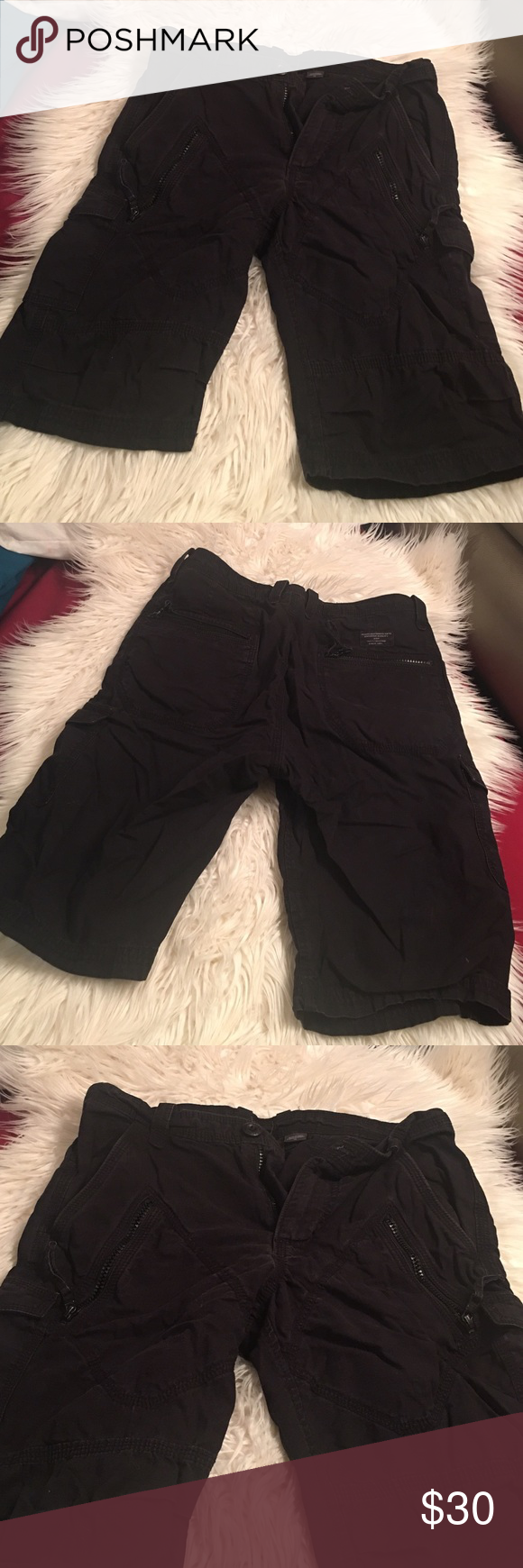Armani Exchange Cargo shorts Has many pockets all black good used condition minor fading from washing sz 28 Armani Exchange Shorts Cargo