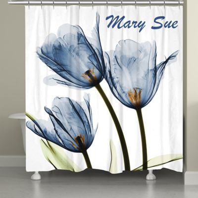 Laural Home Tulip Shower Curtain In Blue White Tulip Shower