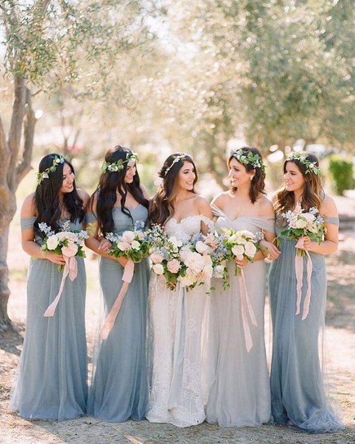 Beautiful mix and matched grey and light blue bridesmaid dresses #bridesmaiddresses #bridesmaids