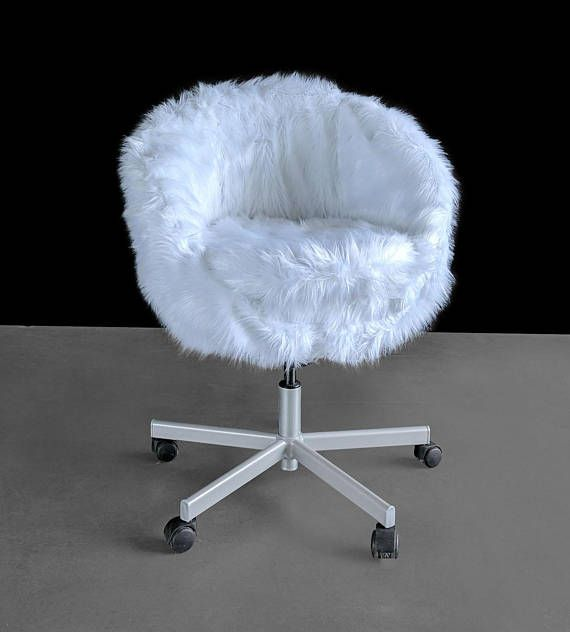 Ikea White Fur Skruvsta Chair Slip Cover Desk Chair Comfy Cute Desk Chair Ikea Chair Cover