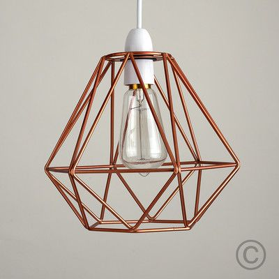 Modern copper wire frame ceiling light pendant shade industrial lightshade home