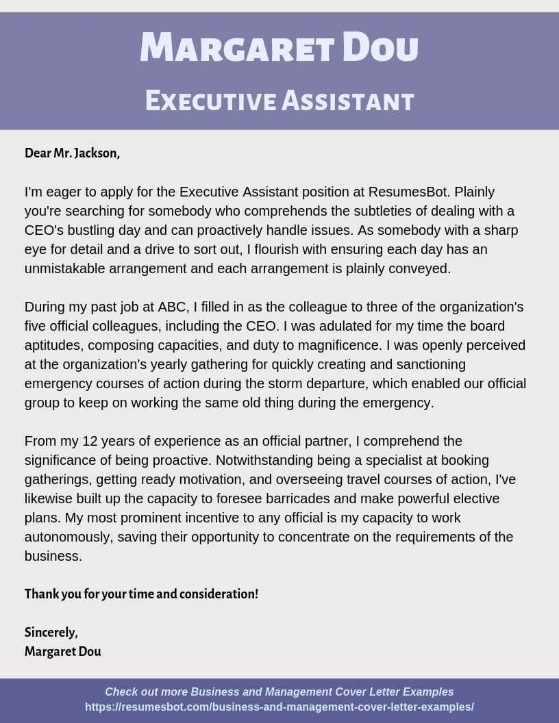 Executive Assistant Cover Letter Samples & Templates [PDF