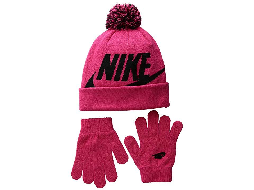 b8caa1c70c2 Nike Kids Swoosh Pom Beanie Gloves Set (Little Kids Big Kids) (Rush Pink)  Beanies. Maybe Mom will let you stay outside longer with the Swoosh Pom  Beanie ...