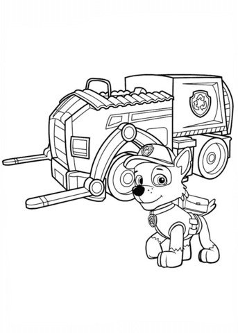 Paw Patrol Rocky S Recycling Truck Coloring Page Paw Patrol Paw