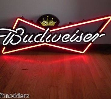L K Budweiser Beer Sign Opti Neon Bow Tie Led Light Busch Room