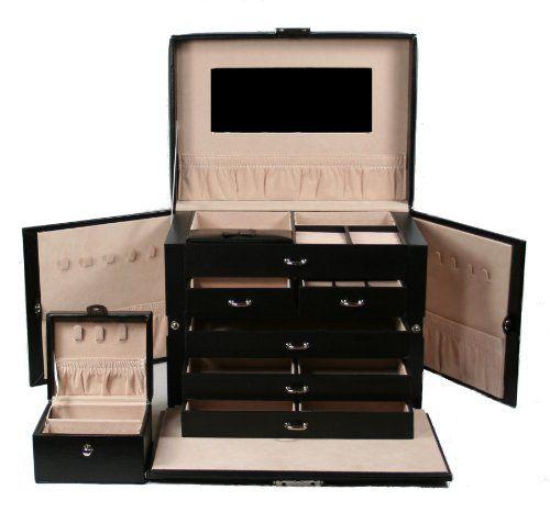 SHINING IMAGE tea2 HUGE BLACK LEATHER JEWELRY BOX CASE STORAGE