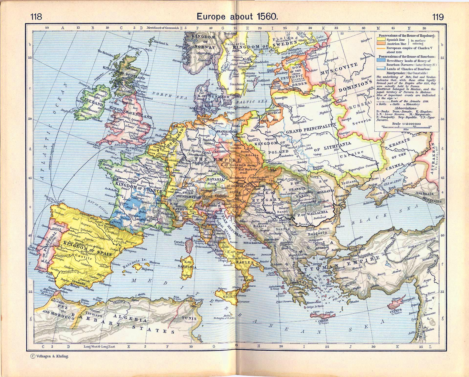 Map Of Europe About 1560 Mapa Artefakty