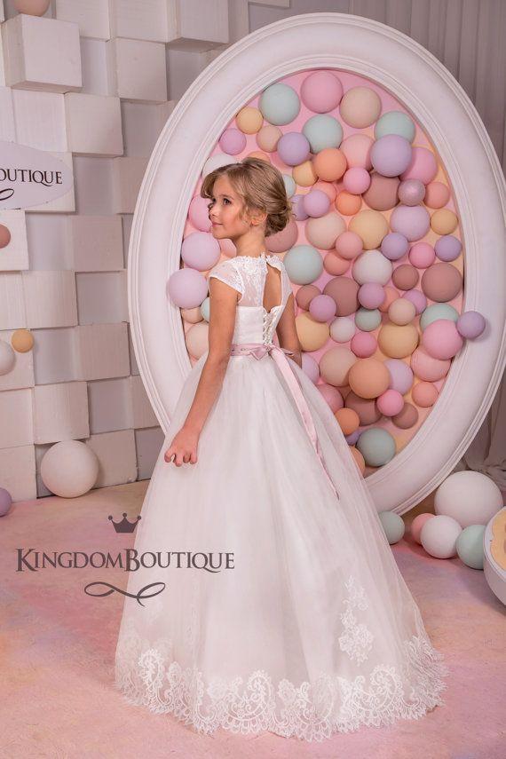 Vestido de encaje marfil Florista fiesta por KingdomBoutiqueUA ...