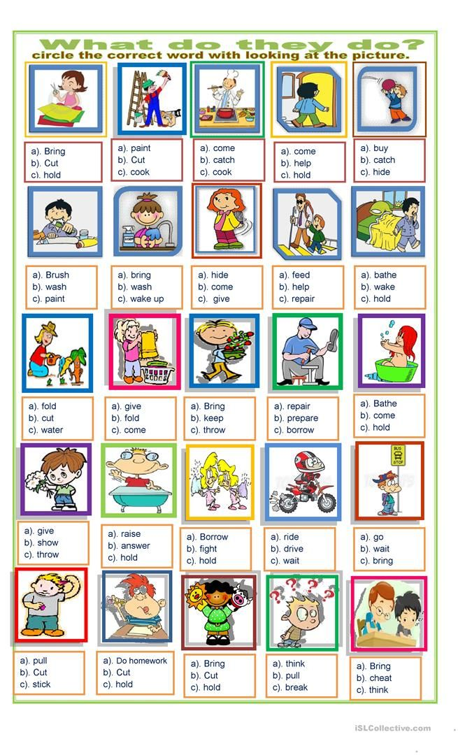 Action Words Exercise With Images English Worksheets For Kids