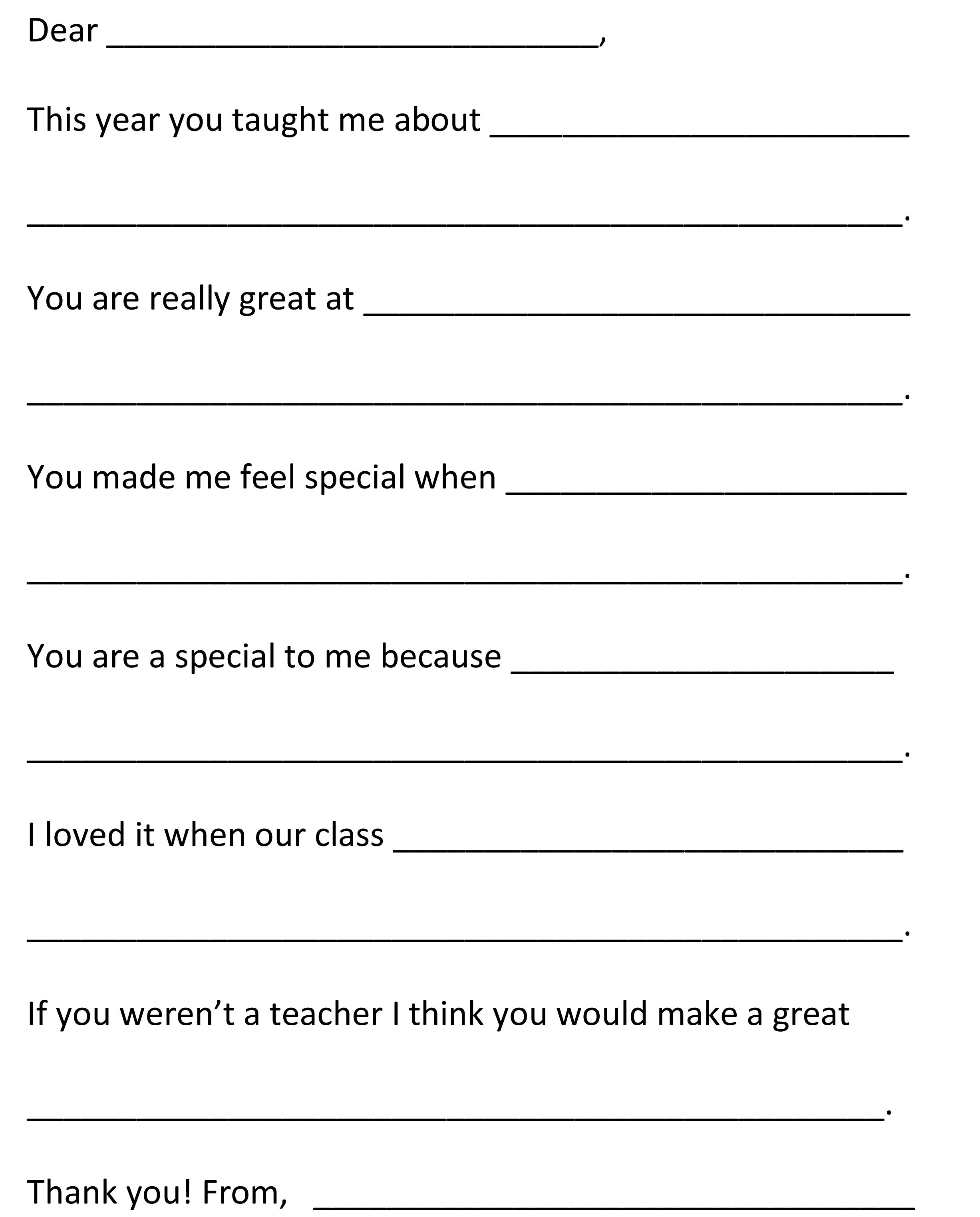 Dear Teacher End Of Year Fill In The Blank Letter To Teacher  For