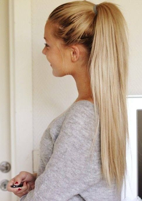 Long Sleek Blonde Ponytail 3 Our Full Head Clip In Human Hair