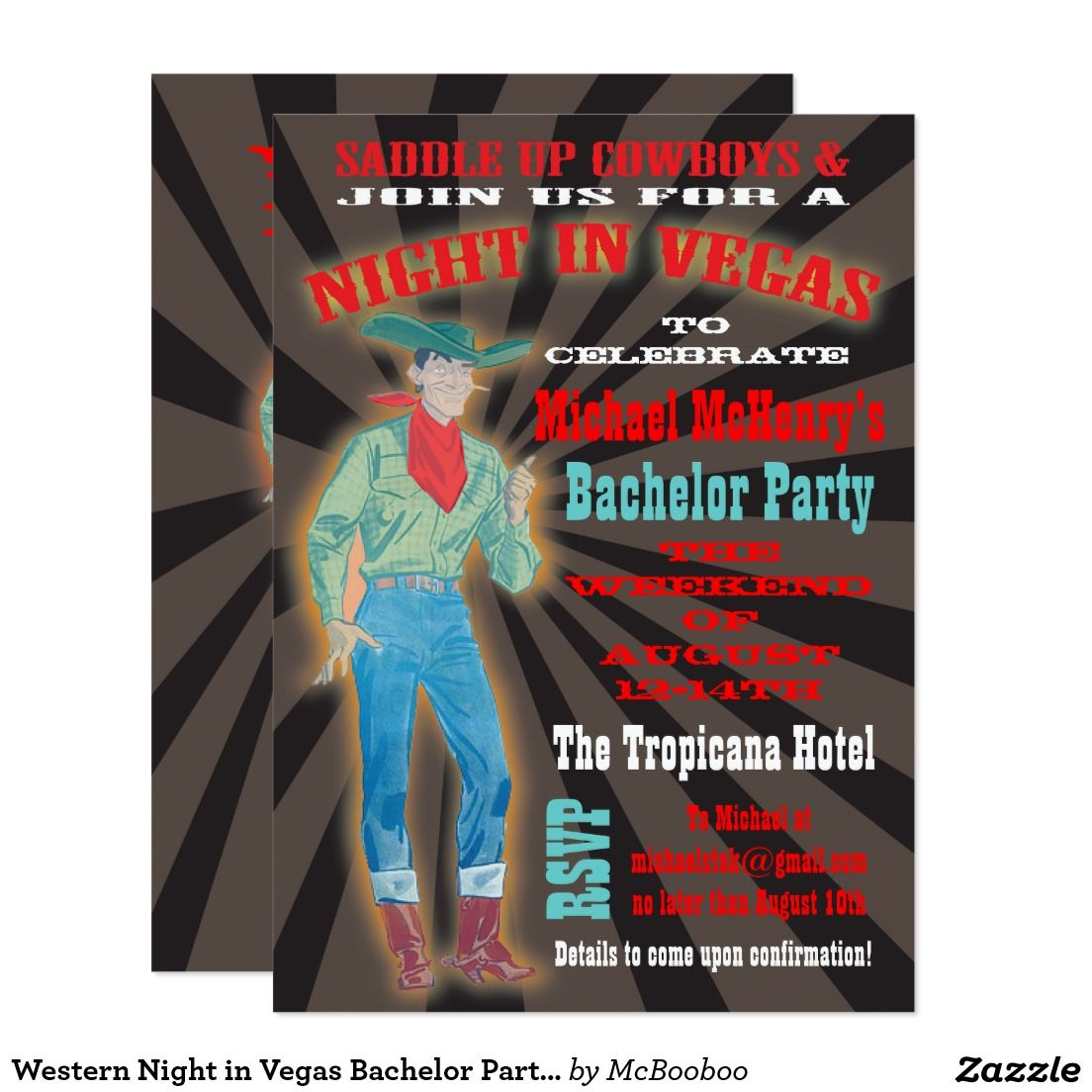 Western Night in Vegas Bachelor Party Invitation | Bachelor Party ...