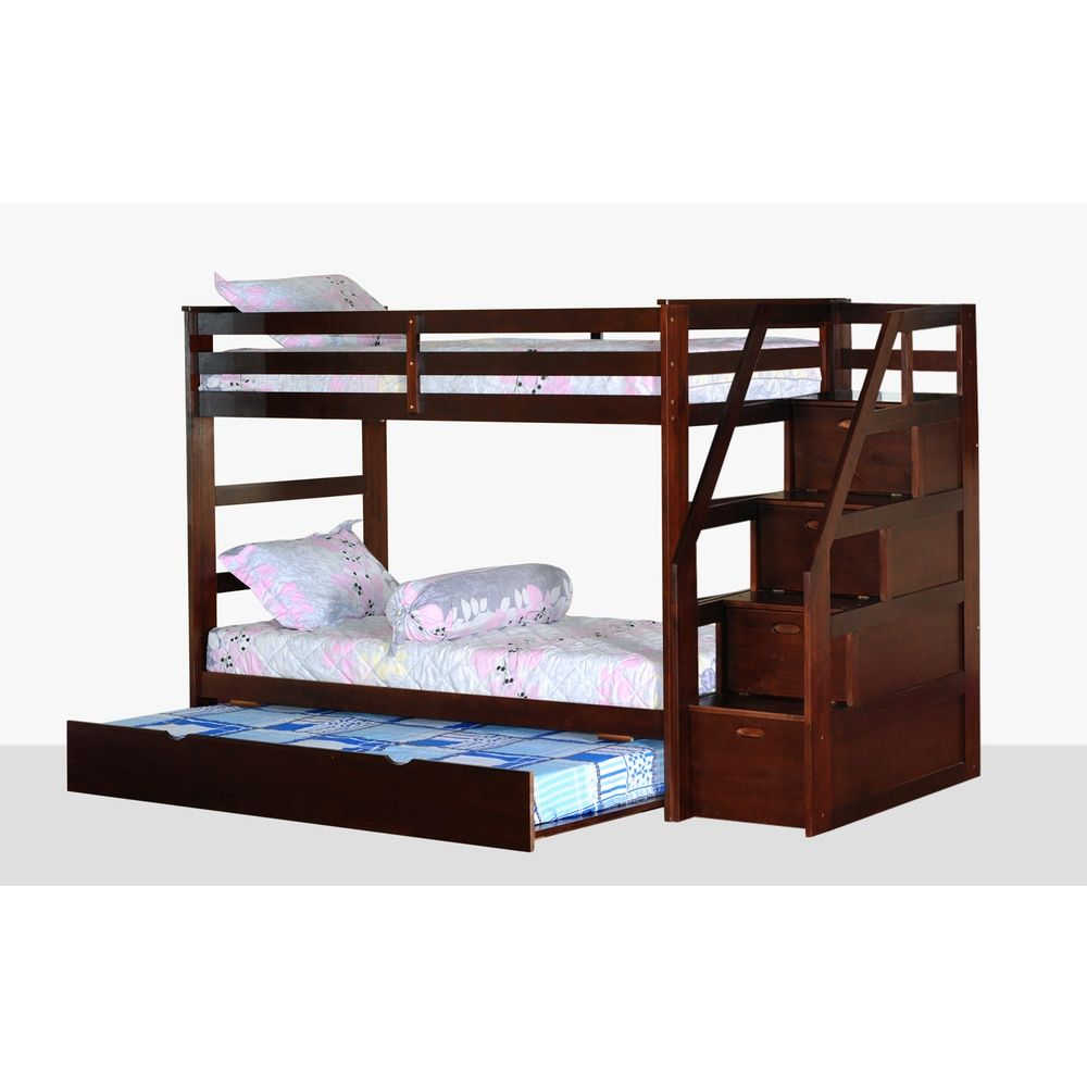 Loft bed with desk and trundle  Twin Over Twin Bunk Bed with Trundle and Storage Steps  Bunk bed
