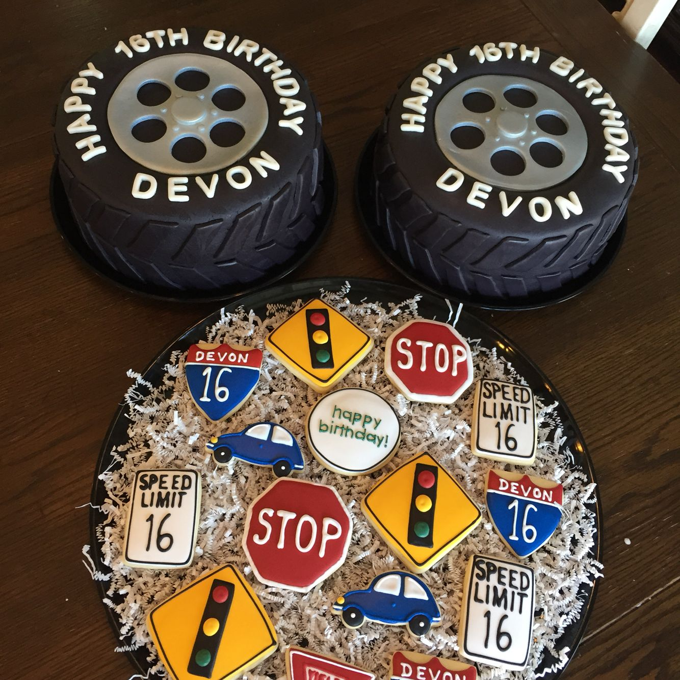 16th Birthday Tire Cakes And Road Sign Cookies