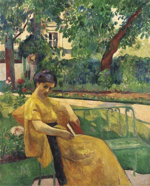 Jeanne en jaune dans le jardin de Neuilly, Henri Manguin. French ...