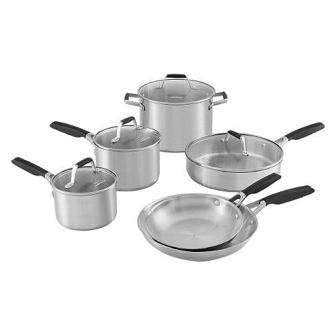 Select By Calphalon 10pc Stainless Steel Cookware Set Black