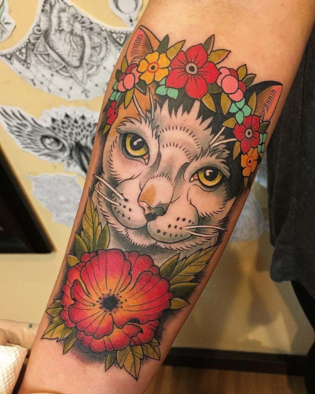 Cat portrait tattoo cat with flower crown cat portrait