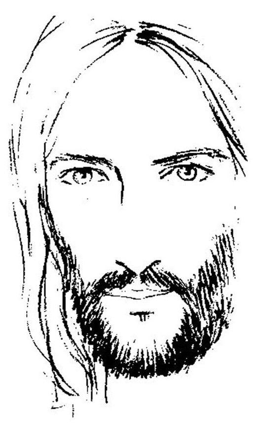 Jesus Face Outline : jesus, outline, Jesus, Sketches, Sketch, Template, Sketch,, Christ