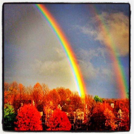 #Beauty in the sky. God is love. How beautiful and lovely the rainbow flow. Hope you day is lovely. Share your love, and don't forget to smile.