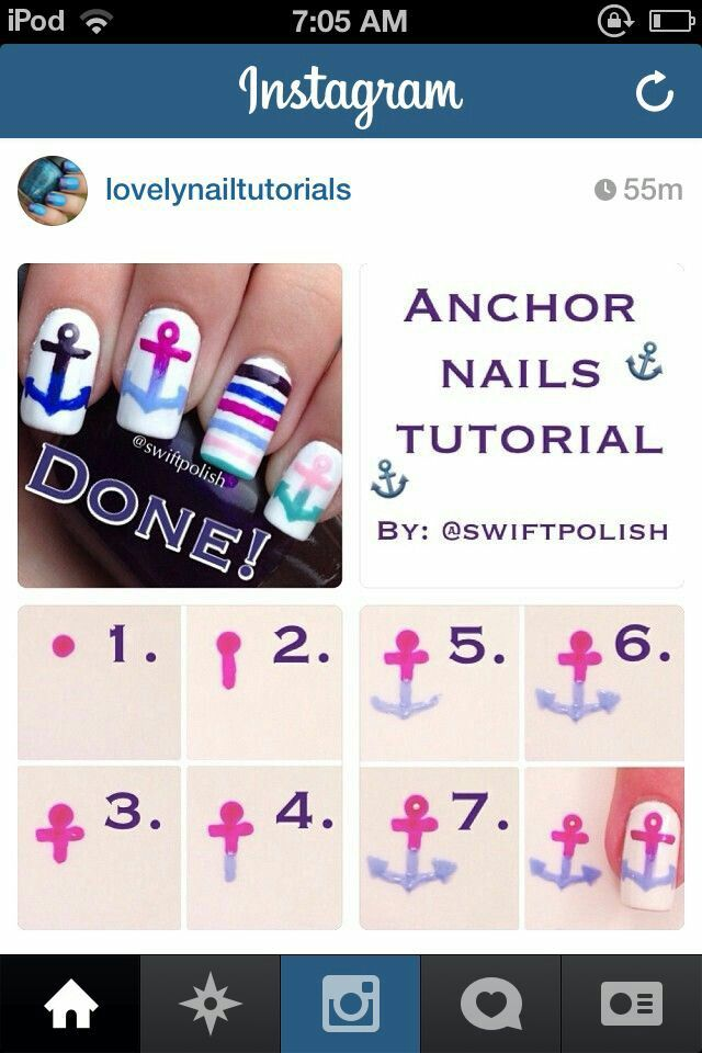 Anchor Nailart Tutorial Nailart Nails Tutorial Anchor Nail Art