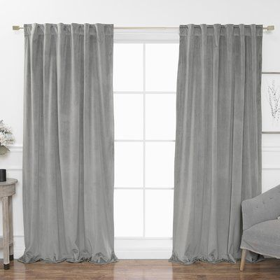 Rosecliff Heights Cowans Luster Velvet Solid Semi Sheer Curtain