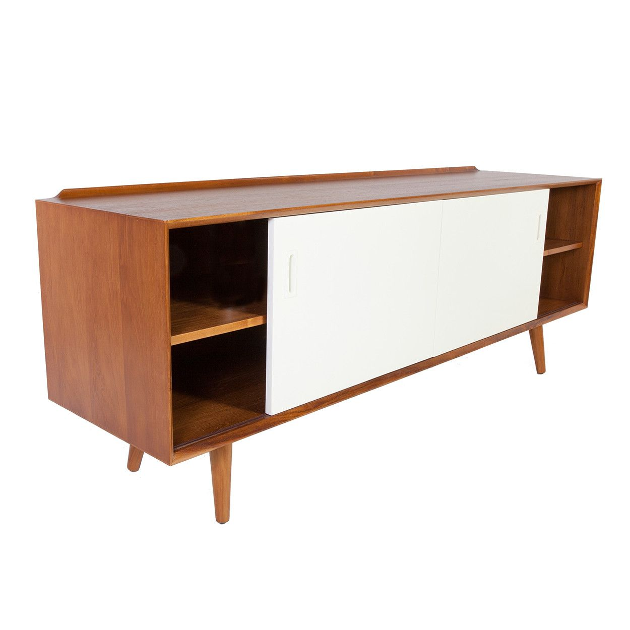 The georg mid century credenza with white drawers mid century