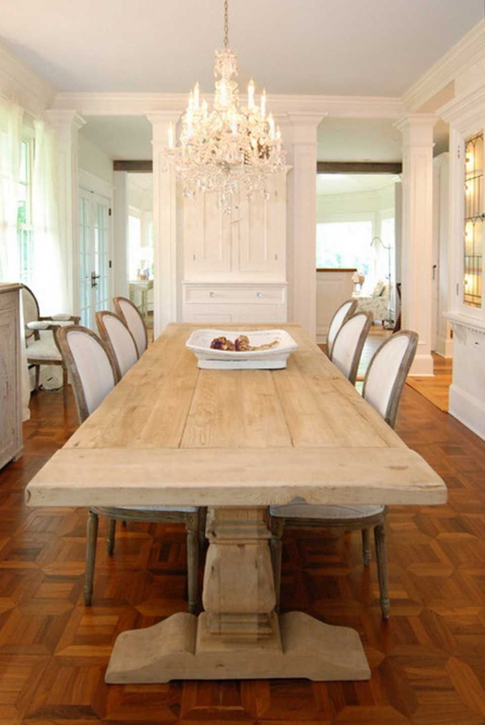 Rustic Dining Room Ideas For Small House With Expanding Teak Wooden Dinner Table Design And Entrancing Beige White Chairs Idea Also Classy Dark Wooden Floor Des Chic Dining Room Farmhouse Dining