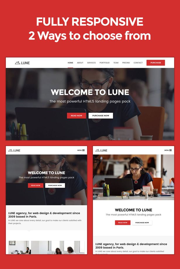 LUNE HTML5 Landing Pages Pack with Page Builder Landing