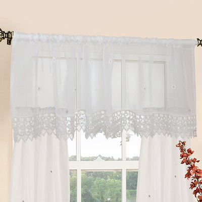 Alcott Hill Peralta 60 Curtain Valance And Tier Set Colour White
