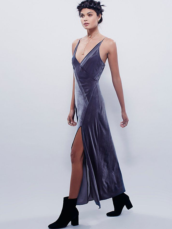 ab595077e8fa2a Spliced Velvet Maxi | Slinky velvet maxi slip with an asymmetrical design,  featuring sheer mesh inserts and an off-center slit. V-neck silhouette with  thin ...
