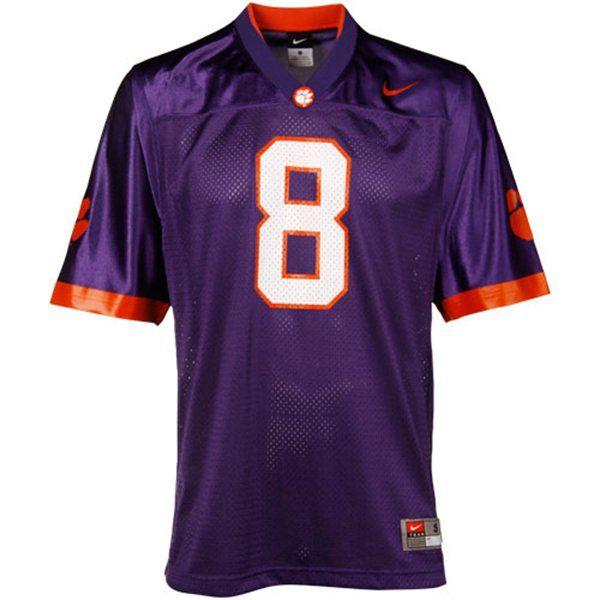 Nike Clemson Tigers 8 Replica Football Jersey Purple