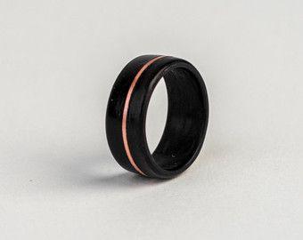 Macassar Ebony w/ Copper Inlay Bentwood Ring - Handmade wood ring - Men's wood ring - Women's wood ring - Alternative jewelry