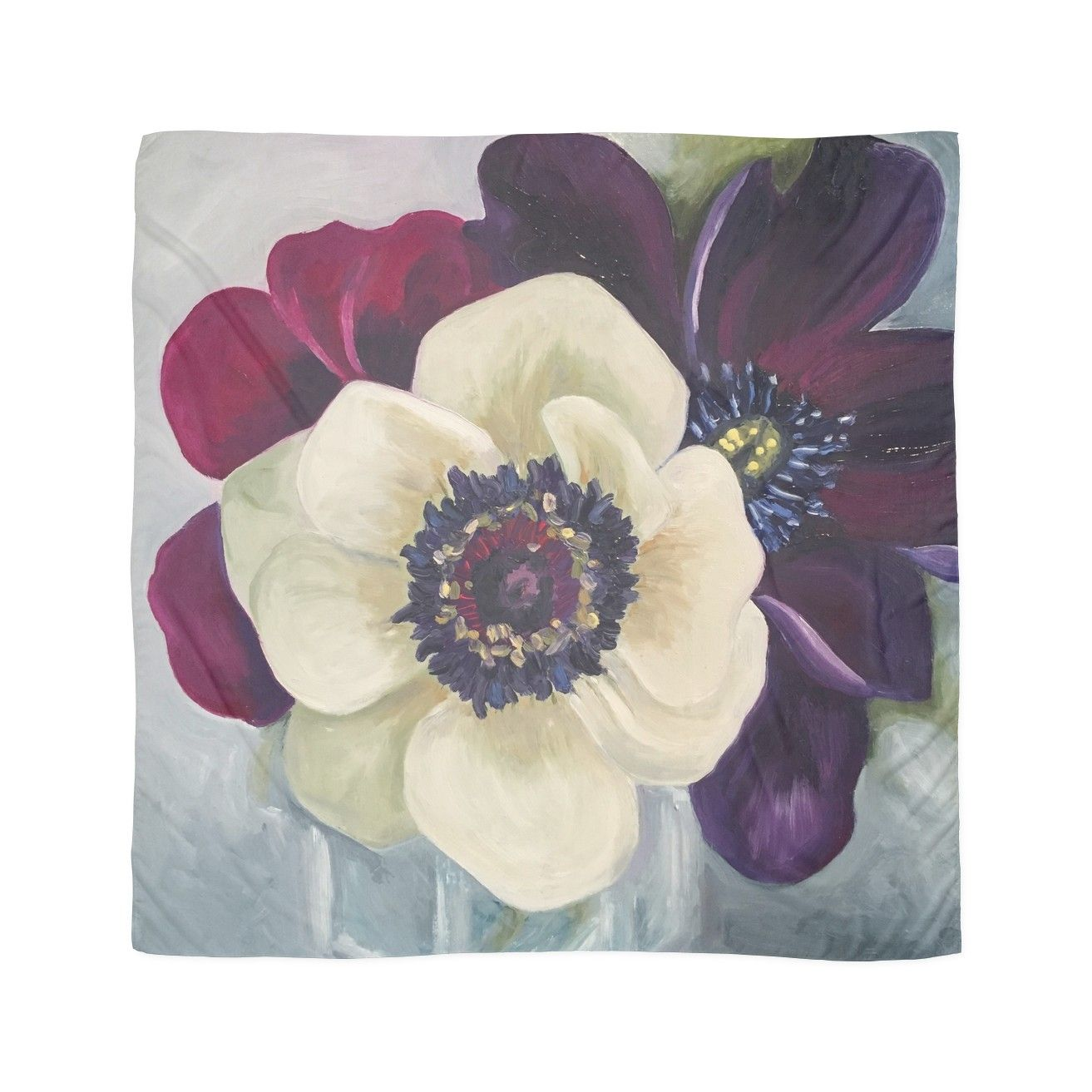 Anemone Flower Oil Painting By Angela Brown Art Scarf Abstract Flower Art Oil Painting Flowers Painting