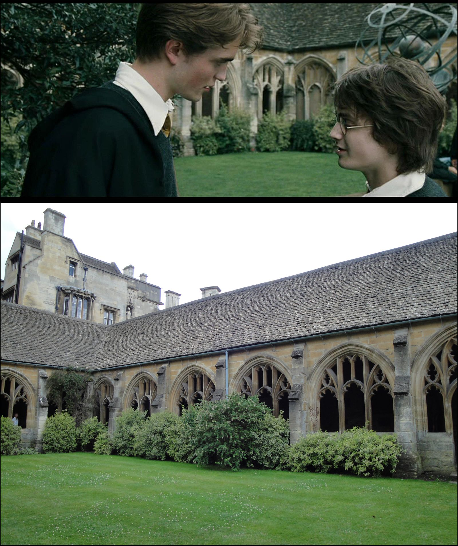 Goblet Of Fire Scenes Of Harry Warning Cedric About The First Tri Wizard Challenge Were Filmed In The Cloisters Of O Harry Potter Places Hogwarts The Cloisters