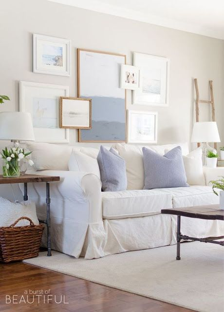Spring Home Tour Our Living Room   A Modern Farmhouse Living Room Looks  Fresh And Cheerful For Spring With A Subtle Blue And White Color Palette  And Layered ...