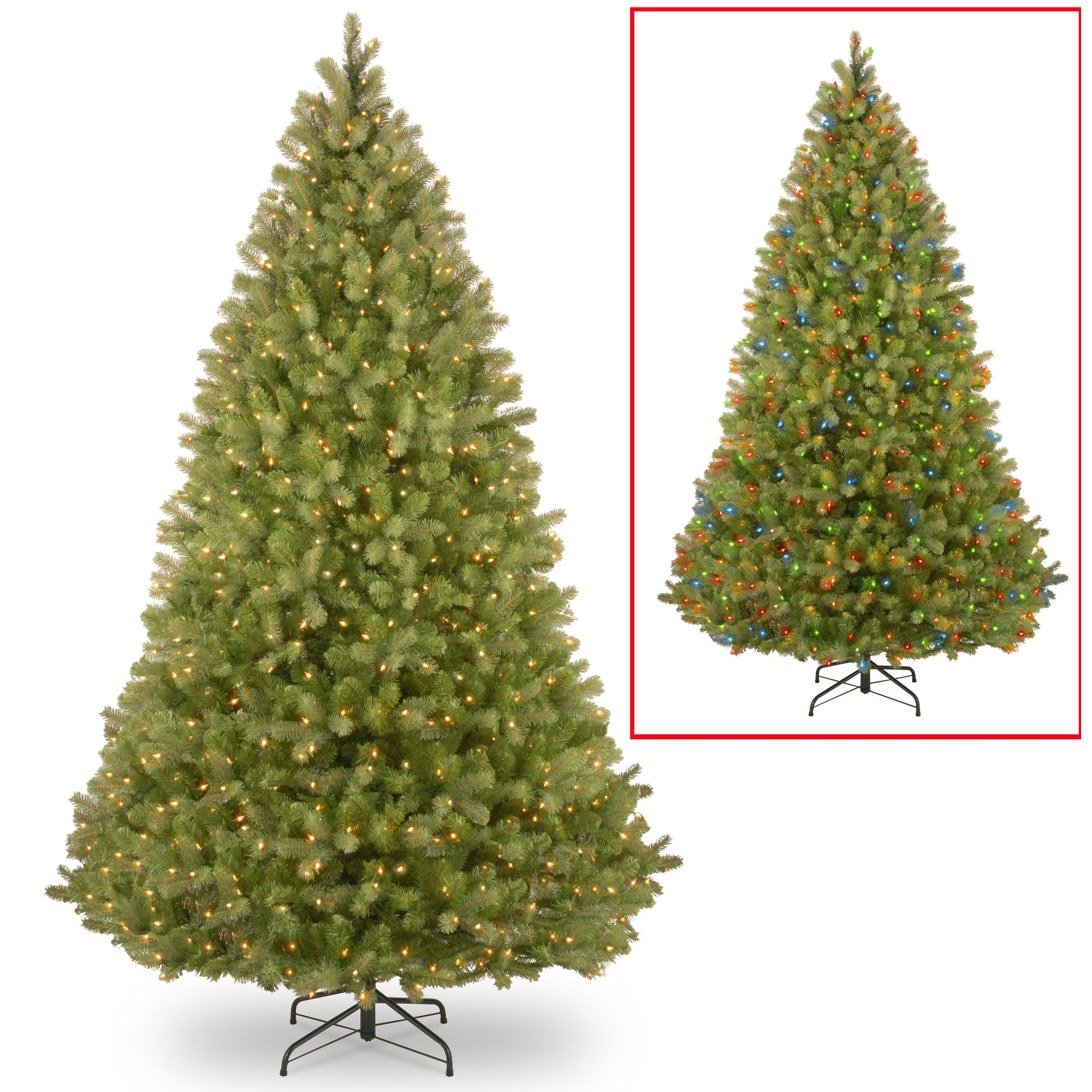 Bayberry 9\' Green Spruce Artificial Christmas Tree with 1000 Colored ...