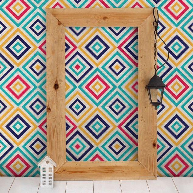 #Vliestapete   #Geometrie Zum Quadrat   Fototapete Quadrat #Ethno #Style # Muster