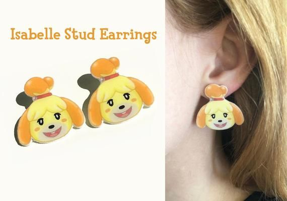 Isabelle Animal Crossing Inspired Stud Earrings Marshal, Lily, Peach, Stitches Handmade