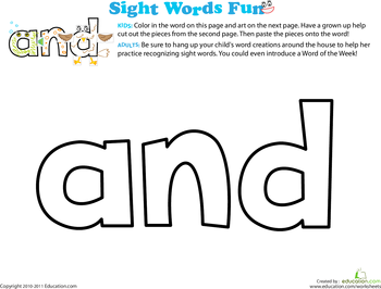 Sight words are small, everyday words that kids need to