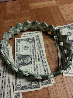 Dollar bill Money Origami high heels Graduation novelty token gift