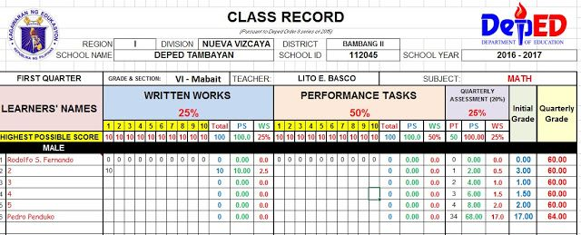 Automated E Class Record With Form 138 Grading Sheet And