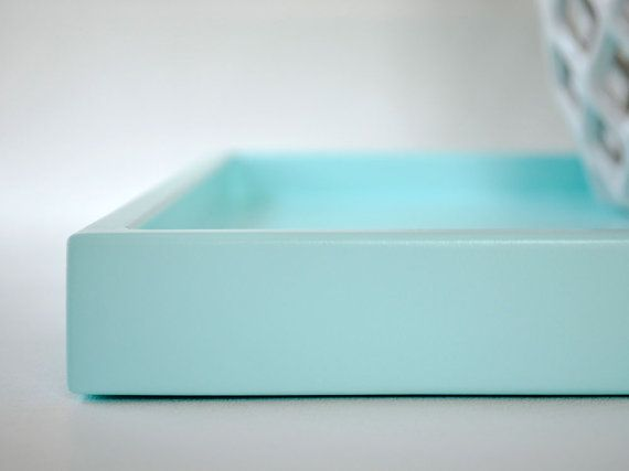 Decorative Trays Delectable Aqua Shallow Decorative Tray 14 X 18 Lacquered Wood Serving Tray Decorating Design